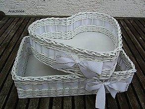 Dekorácie - Svadobné košíčky - menšie sady (biala s lurexom) - 5669579_