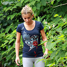 Tričká - Dámske tričko s folk motívom, maľované SRDIENKO - 5668456_