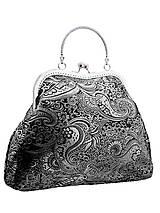 Spoločenská kabelka brokátová čierná 03H