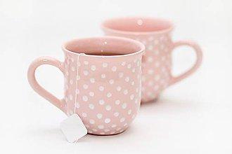 Nádoby - Ružový hrnček s bodkami - 5671857_