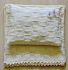 Detské doplnky - pletená súprava-vanilkový sen - 5671177_