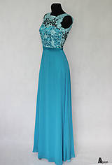 Šaty - Tyrkysové modré šaty s holým chrbátom - 5675670_