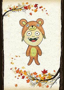 Detské doplnky - Jesenná linajkové podložky do zošita (medvedík) - 5676109_