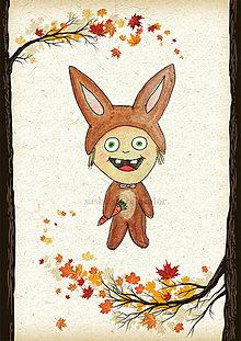 Detské doplnky - Jesenná linajkové podložky do zošita (zajačik) - 5676119_