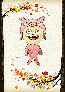 Detské doplnky - Jesenná linajkové podložky do zošita (prasiatko) - 5676130_
