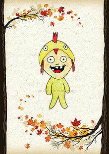 Detské doplnky - Jesenná linajkové podložky do zošita (vtáčik) - 5676134_