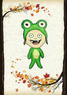 Detské doplnky - Jesenná linajkové podložky do zošita (žabka) - 5676138_