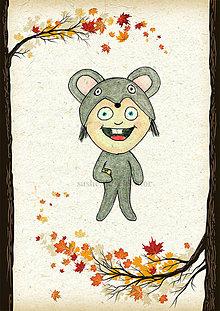 Detské doplnky - Jesenná linajkové podložky do zošita (myška) - 5676141_