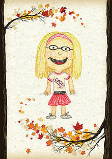 Detské doplnky - Jesenná linajkové podložky do zošita (Štýlová školáčka) - 5676164_