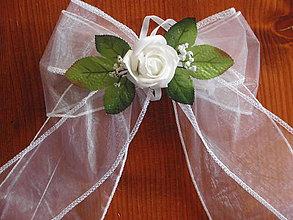Dekorácie - Dvojfarebné mašle s penovou ružou - 5679872_