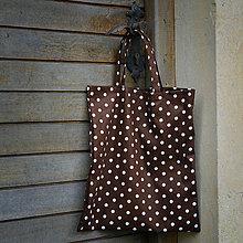 Nákupné tašky - Nákupná taška - čokoládovo hnedá s bielymi bodkami - 5678128_