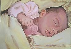 Obrazy - spiace bábätko - portrét A4 - 5681232_