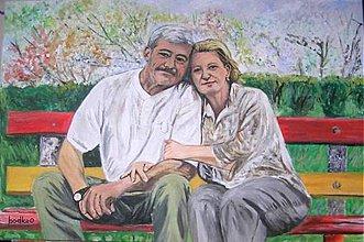 Obrazy - Láska v parku :-) - obraz A2 - 5680376_