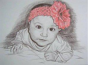 Kresby - bábätko s čelenkou - portrét A2 - 5681063_