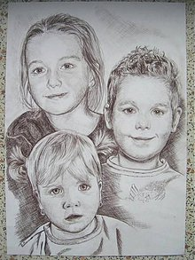 Kresby - traja súrodenci - portrét A3   - 5681225_