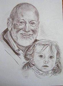 Kresby - dievčatko s deduškom -portrét A3 - 5681231_