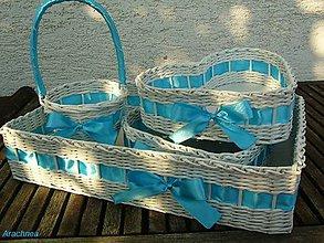 Dekorácie - Svadobné košíčky - väčšie sady (modrá) - 5685901_