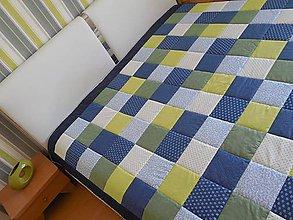 Úžitkový textil - prehoz na manželskú posteľ 220 x 220 cm modro - zelená - 5685796_