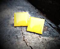 Náušnice - Žlté štvorce 20 mm - 5686363_