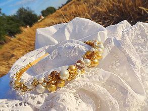 Ozdoby do vlasov - zopár zlatistého obilia a perlí ....čelenka - 5687239_