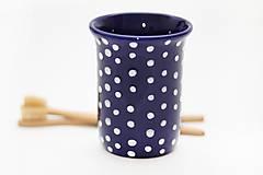 Nádoby - Kobaltový pohár s bodkami do kúpeľne - 5687788_