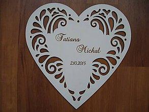Dekorácie - Srdce  30x30 cm + gravír - 5689973_