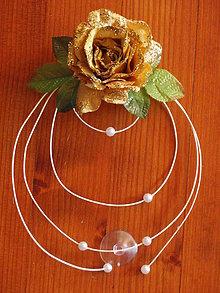 Dekorácie - Ozdoby na kapotu so zlatou ružou s trblietkami - 5688296_