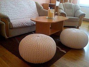 Úžitkový textil - Pletený puf - Zmrzlinové osvieženie... - 5689536_