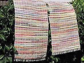 Úžitkový textil - koberec tkaný ,, multifarebný so žltou,,70x 140cm - 5691416_
