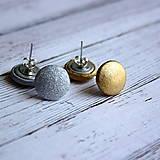 Náušnice - Náušnice zapichovačky z buttonov Zlato a Striebro 13 mm - 5691713_