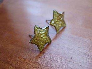 Náušnice - Hviezdičky zlatisté napichovačky - chirurgická oceľ č.1446 - 5690264_