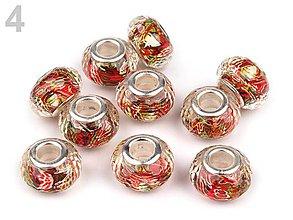 Korálky - Živicové brúsené s abstraktným vzorom (č.4 - červená) 9x14mm, bal.1ks - 5691047_