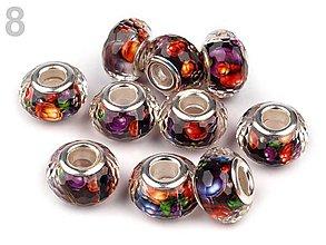 Korálky - Živicové brúsené s abstraktným vzorom (č.8 - fialová) 9x14mm, bal.1ks - 5691152_