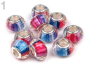 Korálky - Živicové brúsené s viacfarebným prúžkovaním (č.1 - nebeská modrá) 9x14mm, bal.1ks - 5691162_