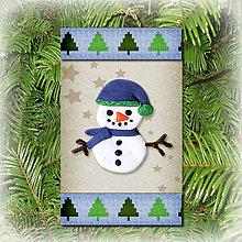 Dekorácie - Vianočná ozdoba (stromčeková - snehuliak) - 5692284_