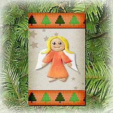 Dekorácie - Vianočná ozdoba (stromčeková - anjelik) - 5692302_