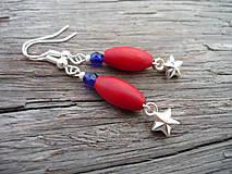 Náušnice - Náušnice Námořnícká hvězdička červená - 5692806_