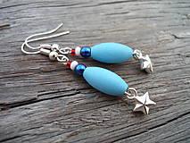 Náušnice - Náušnice Námořnícká hvězdička modrá - 5692811_