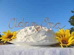Dekorácie - svadobné mená na tortu...menšie - 5693008_