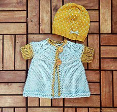 Detské oblečenie - Kabátik a čiapočka medovo- modré - 5694898_