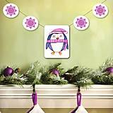 Tabuľky - Vianočná girlanda - tučniačik - 5695515_