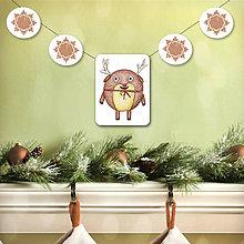 Tabuľky - Vianočná girlanda - sobík - 5695490_