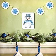 Tabuľky - Vianočná girlanda - snehuliačik - 5695525_