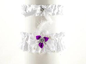 Bielizeň/Plavky - set bielý podväzok saténový s čipkou pre nevestu  04S - 5698988_