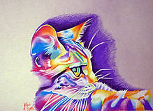 rainbow purr - print