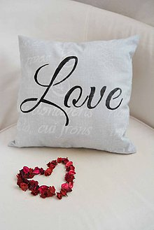 Úžitkový textil - _WoRDS iN GRey & LOVE... KoMPLeT vankúšik... 35x35 cm - 5701747_
