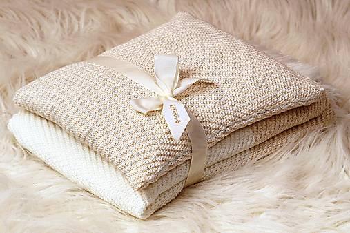 Teplučká pletená deka do kočíka a postieľky - vzor CreamEye, OEKO-TEX®