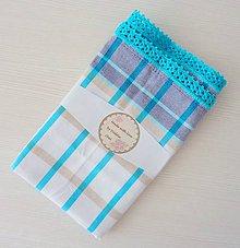 Úžitkový textil - Utierka s háčkovaným okrajom, tyrkysovo-modrá - 5702957_