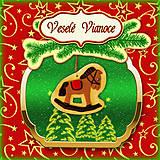 Papiernictvo - Golden vianočná pohľadnica s ozdobou - 5703278_