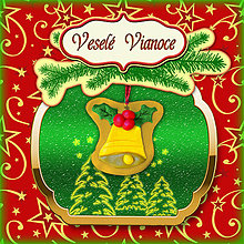 Papiernictvo - Golden vianočná pohľadnica s ozdobou (zvonček) - 5703252_